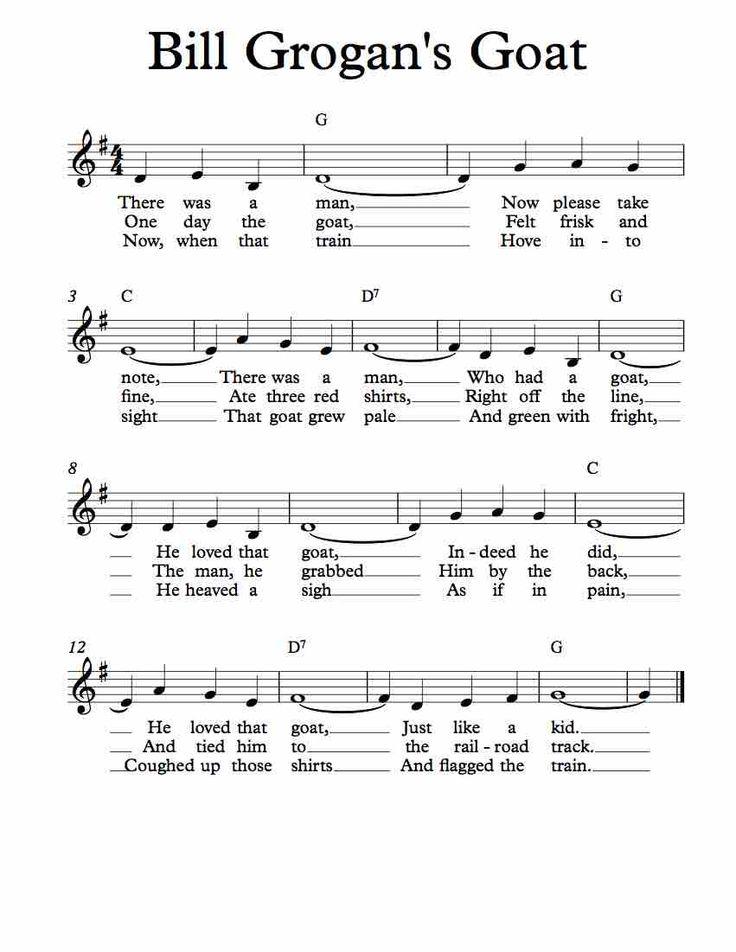 Free Sheet Music for Bill Grogan's Goat. Children's Song. Enjoy!