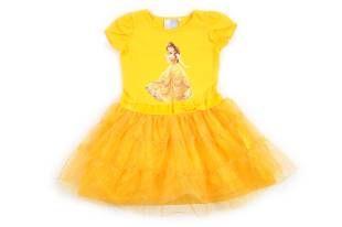 """Vestido para niña, en color amarillo y con la falda hecha en tul. Estampado de """"Bella"""" al frente."""