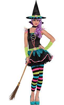 teen girls neon witch costume - Popular Tween Halloween Costumes