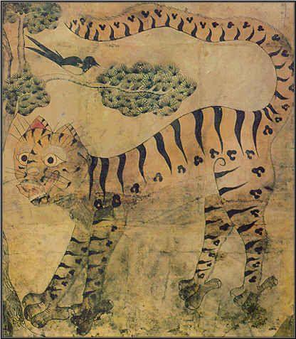 민화 속의 호랑이는 재미있는 모습으로 나타난다. 이 호작도