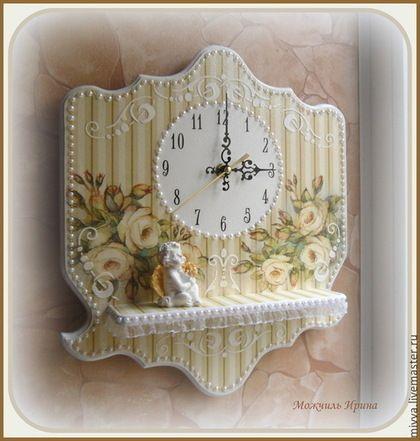 """Часы для дома ручной работы. Ярмарка Мастеров - ручная работа. Купить Часы панно с полочкой  """"Золотая роза"""". Handmade. Бежевый"""