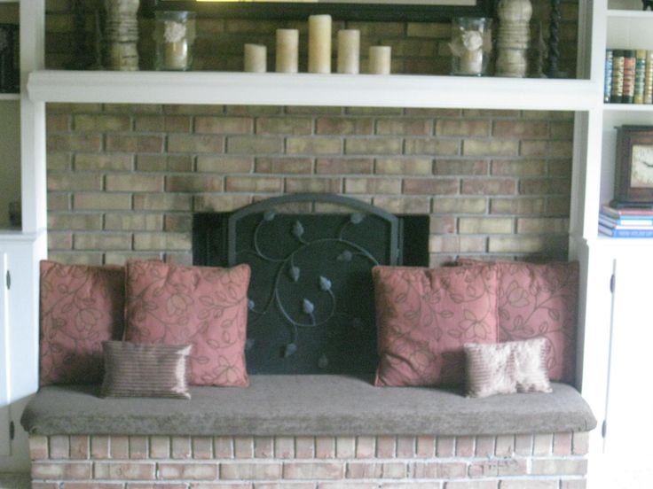 Fireplace hearth cover...added seating and safer for little ones running around!