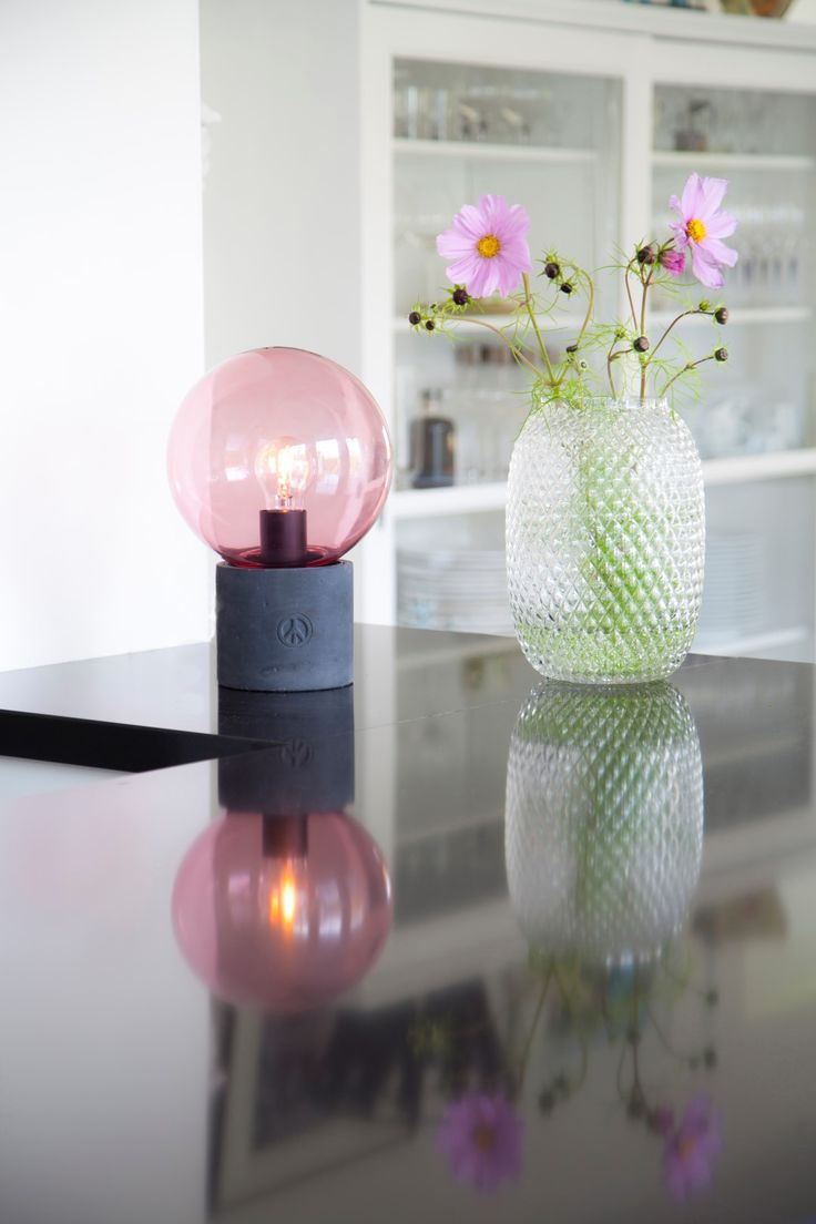 Concrete table lamp Peacebubble with a pink shade deisgned by Åsa Gassle. Click the image and check other colors.    #sessakdesign #sessaklighting #sessak #lighting #sisustus #valaisin #new #newin #pöytävalaisin #interior #inredning #interior #Vintage #Modern #Minimalistic