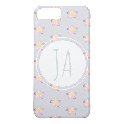 Stylish Vintage Floral Gray Monogram Initials iPhone 8 Plus/7 Plus Case - simple clear clean design style unique diy