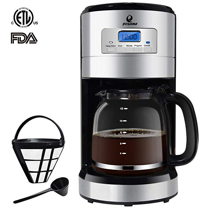 Posame Thermal Automatic Programmable Coffeemaker 24 Hours Brew Timer Led Digital Screen 12 Cup Glass Carafe Removable Mes Coffee Maker Glass Carafe Coffee