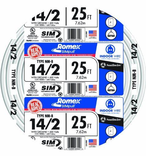 SouthWire 28827421 14/2WG NMB Wire 25-Foot by Southwire. Save 26 Off!. $12.84. From the Manufacturer                For general wiring of homes; farm buildings; stores and shops. It is flame and moisture resistant; but should not be used in wet locations. Type NM-B is primarily used in residential wiring as branch circuits' for outlets; switches; and other loads. NM-B may be used for both exposed and concealed work in dry locations at conductor temperatures not to exceed 90oC. Ampac...