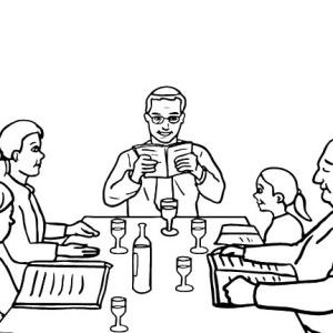 Reading the Hebrew Text on Passover Day Coloring Page