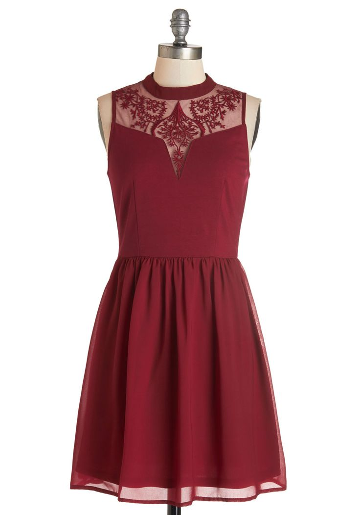 The Way to Whimsy Dress. For you, the quickest way to feeling fab is donning this burgundy dress! #red #modcloth