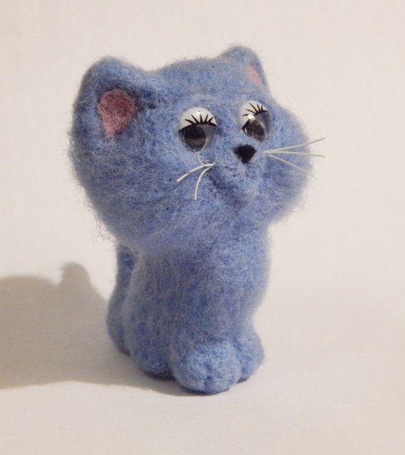 Ihla plstené, modrá mačiatko, zábavná hračka, darček, ručné miniatúra, mäkké sochárstvo, krásne zvieratá, pet miniatúrne, prírodné ovčej vlny