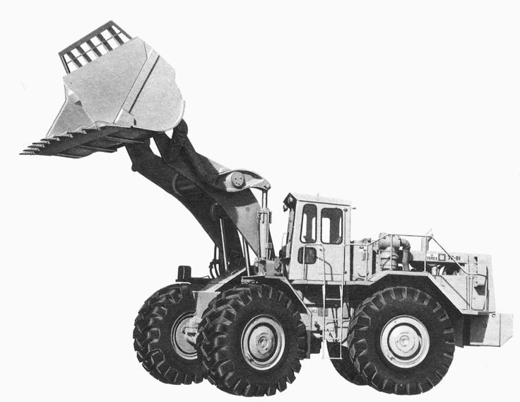 Factory image of a 1975 Terex 72-81 with 'soft' cab, nine cubic yard spade nose rock bucket with teeth, and riding on 33.25x35 L4 tyres. This was the largest wheel loader that Terex ever manufactured.