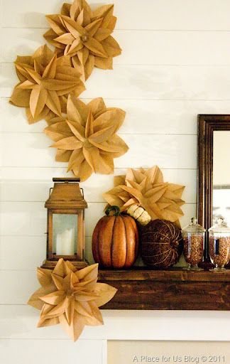 Brown Paper Flowers #aplaceforusblog: Ideas, Brown Paper Bags, Fall Decor, Brown Bags, Lunches Bags, Paper Flowers, Paper Bags Flowers, Crafts, Flowers Tutorials
