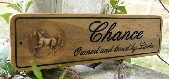 Horse Stall Signs Wood Carved Sign for Horse Barn Door Plate