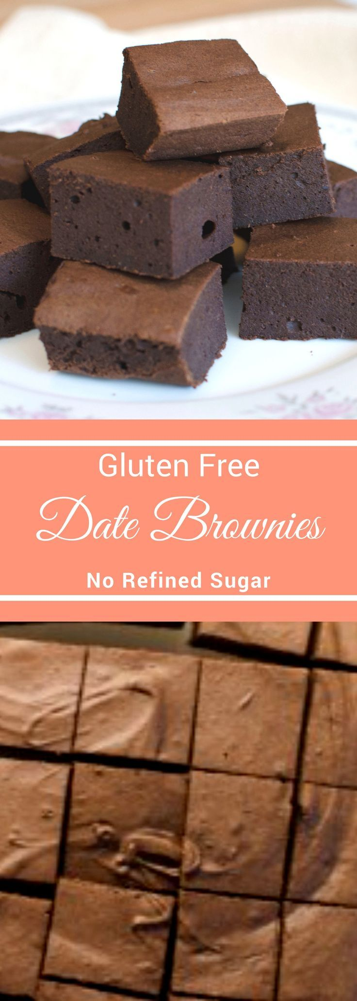 These Date Brownies has no refined sugar, they're sweetened only with dates!  Added pureed dates to this gluten free brownie batters makes a naturally sweet brownie!