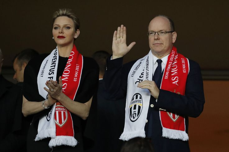Princess Charlene of Monaco and Prince Albert II of Monaco during the UEFA Champions League semi final first leg match between AS Monaco and Juventus Turin at Stade Louis II on May 3, 2017 in Monaco, Monaco.