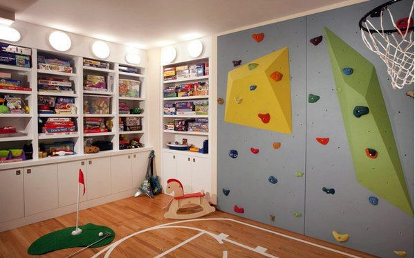 A climbing wall and golf course for the active child.
