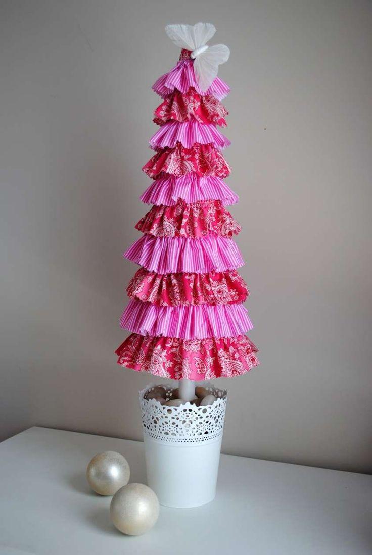 Albero di Natale fai da te tridimensionale - Albero di Natale di stoffa rosa
