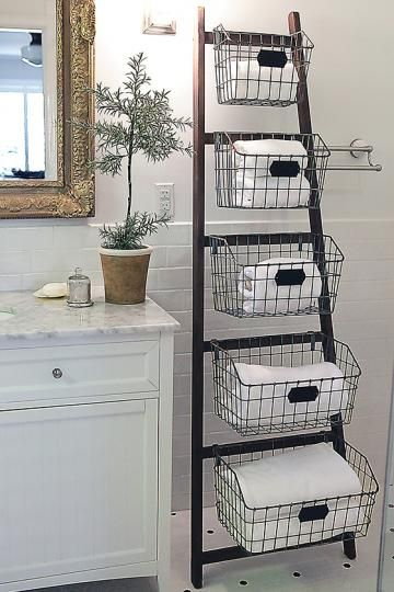 Waldon Bathroom Ladder with Wire Baskets | HomeDecorators.com