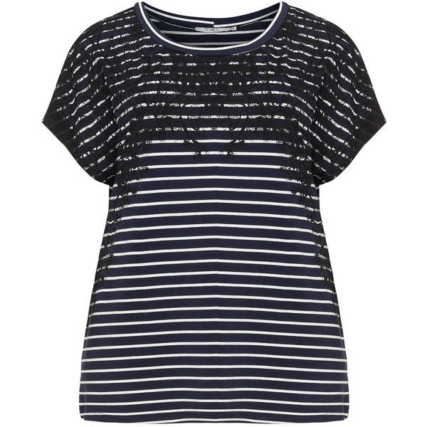Mat Dark-Blue / White Plus Size Lace print striped t-shirt ($50) ❤ liked on Polyvore featuring tops, plus size, short sleeve shirts, plus size short sleeve tops, plus size shirts, plus size tops and white short sleeve shirt