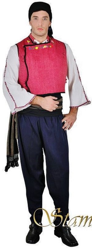 Traditional costume from the Evros region (Greek Thrace, on the border with Turkey). Clothing style: Greek, early 20th century.  This is a contemporary workshop-made copy, as worn by folk dance groups.  (Source: Stamco Costumes; www.greek-costumes.com).