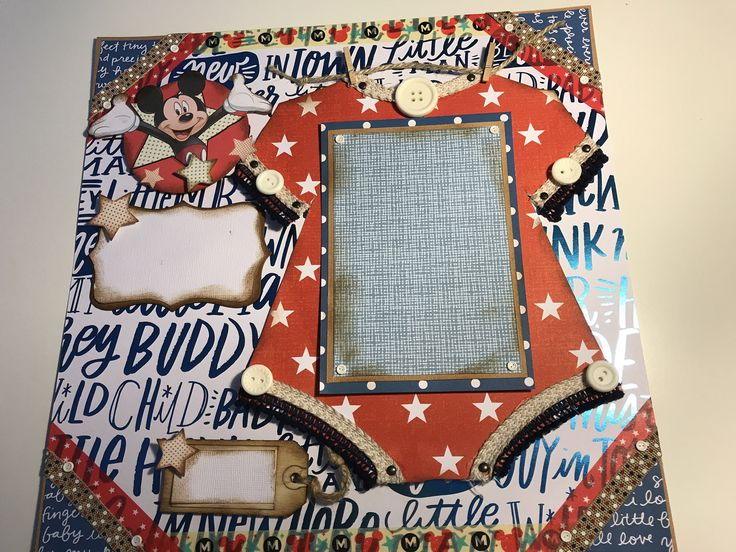 "Classic Disney Mickey premade 12 x 12 Baby boy  scrapbook  premade page.  Disney Mickey Mouse ""Hey  buddy"" with onsie photo mat! by TheBohoRooster on Etsy https://www.etsy.com/listing/556972297/classic-disney-mickey-premade-12-x-12"
