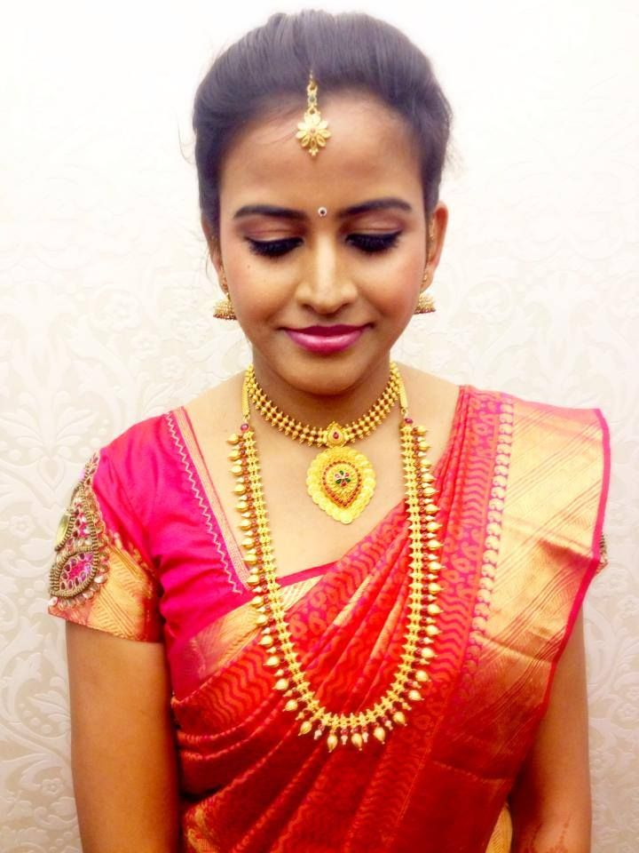 Engagement look: traditional south indian bride-to-be wearing  saree and jewellery. Indian wedding photography