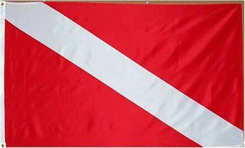 Diver Flag - 3 foot by 5 foot Polyester (NEW) by Other Flags. $4.85. 2 Metal Grommets For Eash Mounting with Canvas Hem for long lasting strength. Express Domestic Shipping is OVERNITE 98% of the time, otherwise 2-day.. Express International Shipping is Global Express Mail (2-3 days). 3 Foot by 5 Foot, Indoor-Outdoor, Lightweight Polyester Flag with Sharp Vivd Colors. FAST SHIPPER: Ships in 1 Business Day; usually the Same Day if pmnt clears by noon CST. 3 foot ...