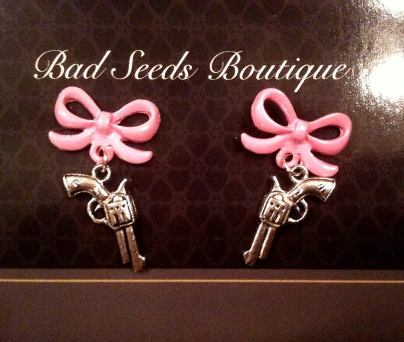 Pink Pistol Rockabilly Pinup Psychobilly Earrings by BadSeeds, $12.00