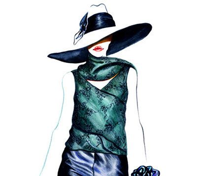 Runway Fashion Illustration  Giorgio Armani by sunnygu on Etsy, $30.00