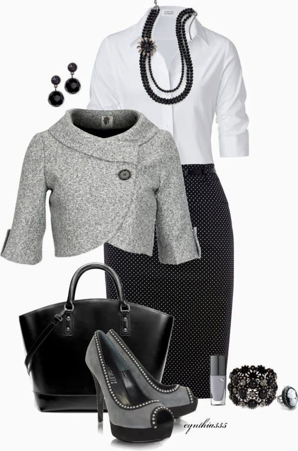 Work Outfit (black & gray) created by cynthia335 on Polyvore