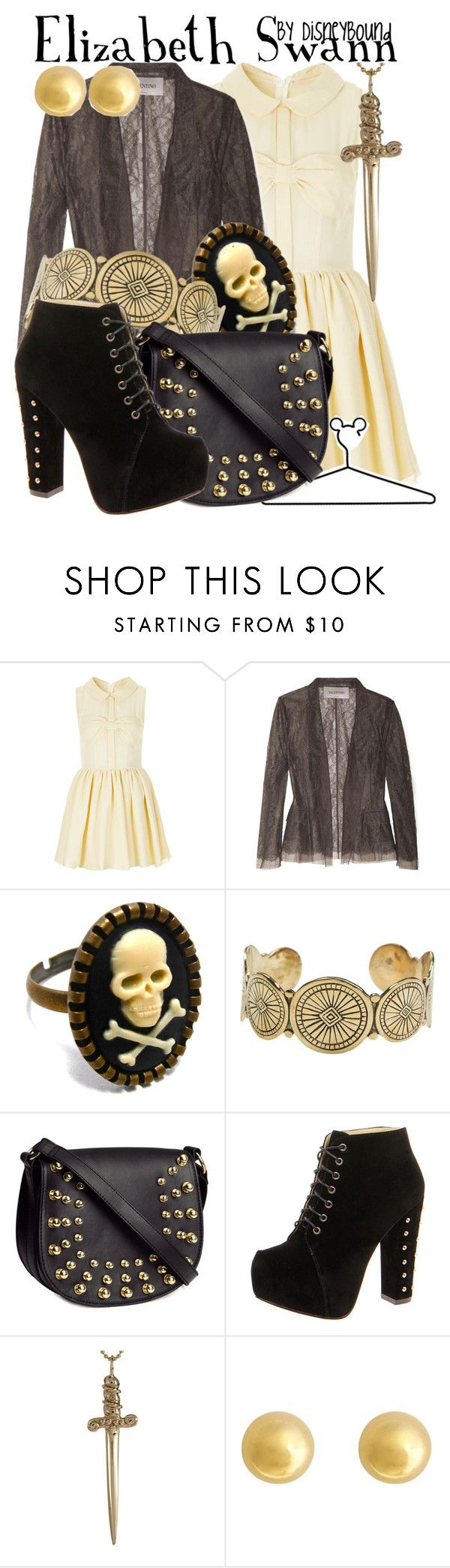 """Elizabeth Swann"" by leslieakay ❤ liked on Polyvore featuring Topshop, Valentino, Jens Pirate Booty, Disney, H&M, Boohoo, Jennifer Fisher and J by Jasper Conran"