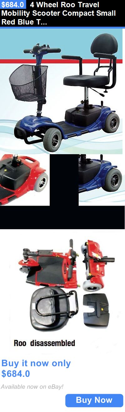 Mobility Scooters: 4 Wheel Roo Travel Mobility Scooter Compact Small Red Blue Transport Medical BUY IT NOW ONLY: $684.0