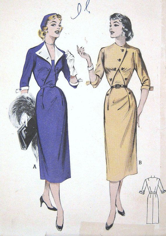 Vintage 1950s Wiggle Dress Pattern Makes 2 Styles Open Wing Collar Optional Contrasts or Closed Asymmetrical Front Butterick 6672 Bust 34