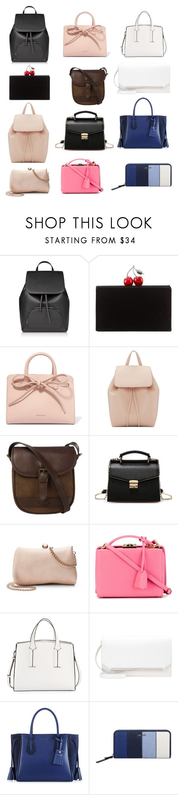 """сумки"" by tamaraatma on Polyvore featuring Edie Parker, Mansur Gavriel, DUBARRY, LC Lauren Conrad, Mark Cross, French Connection, Longchamp and Nine West"