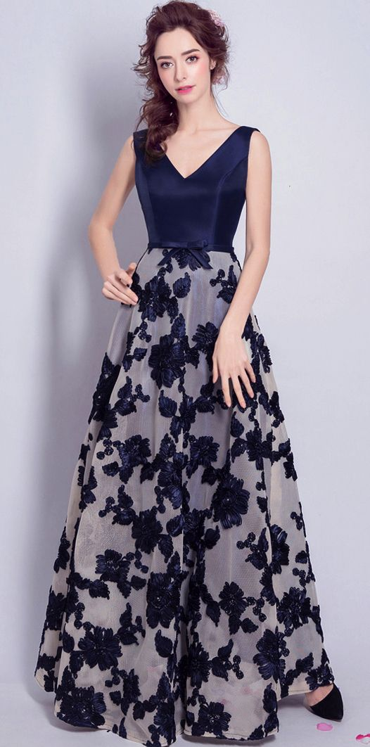 fa97995339 Sexy A Line Floral Print Long Prom Dress V-Neck Women Evening Party Gowns