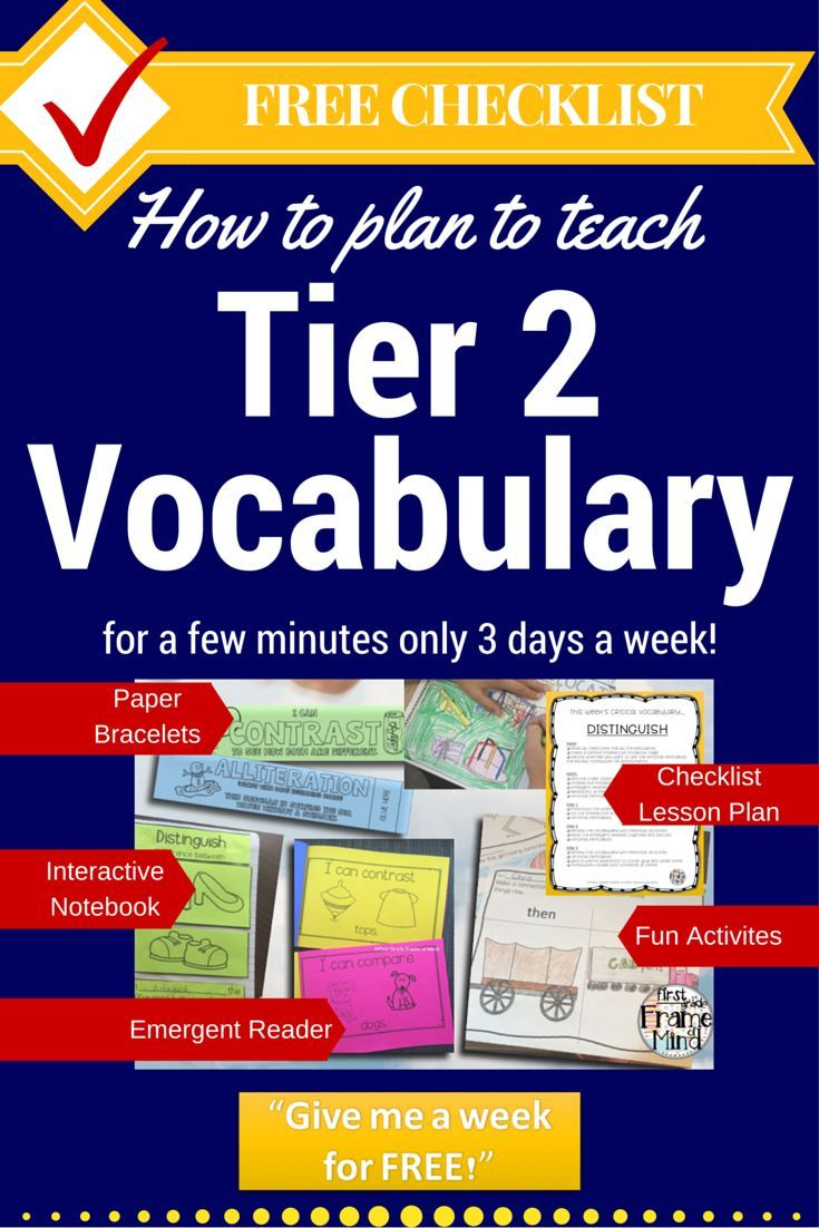 Plan to teach critical Tier 2 academic vocabulary for a few minutes 3 days a week. Free checklist and week of lesson plans to show how you can do it! Get the checklist and free week here at http://firstgradeframeofmind.com/free-week-distinguish