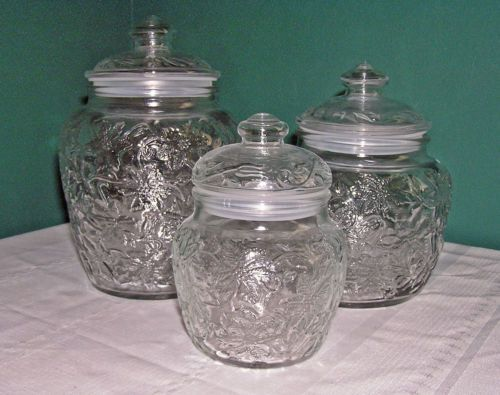 Princess house fantasia clear glass 3 canister set for Princess housse