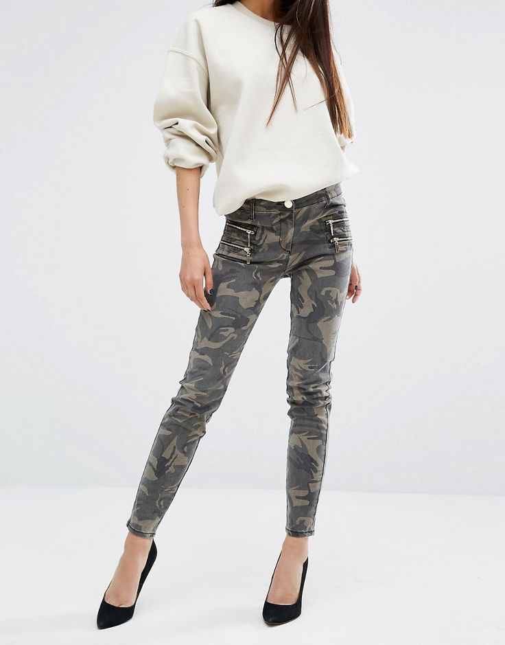 River Island Skinny Camo Jeans