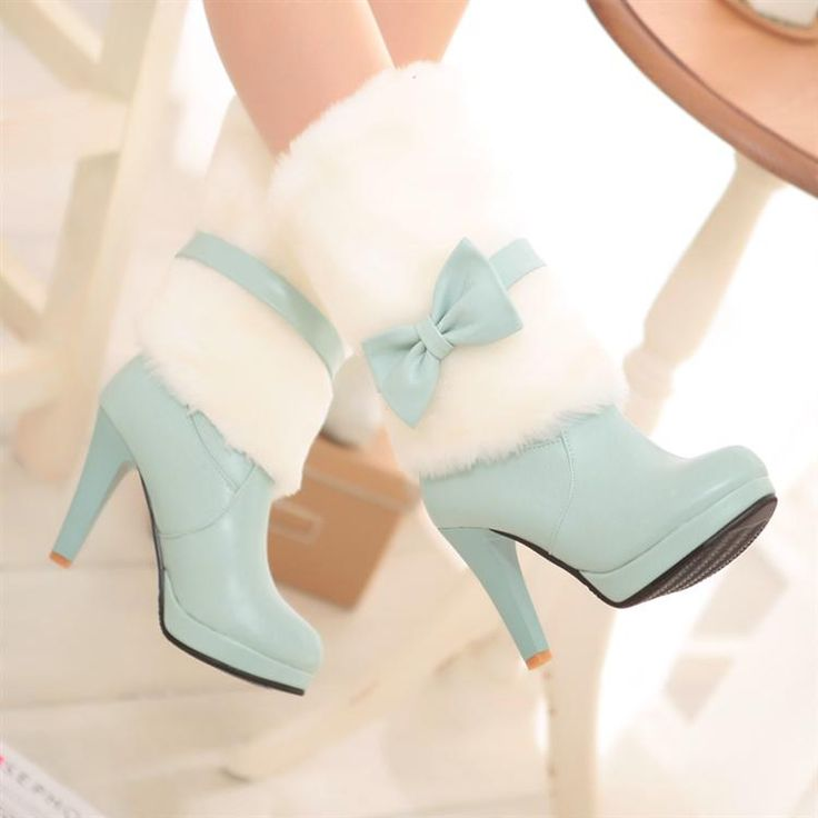 too cute! Girly Bow Design High Heel Fashion Winter Boots