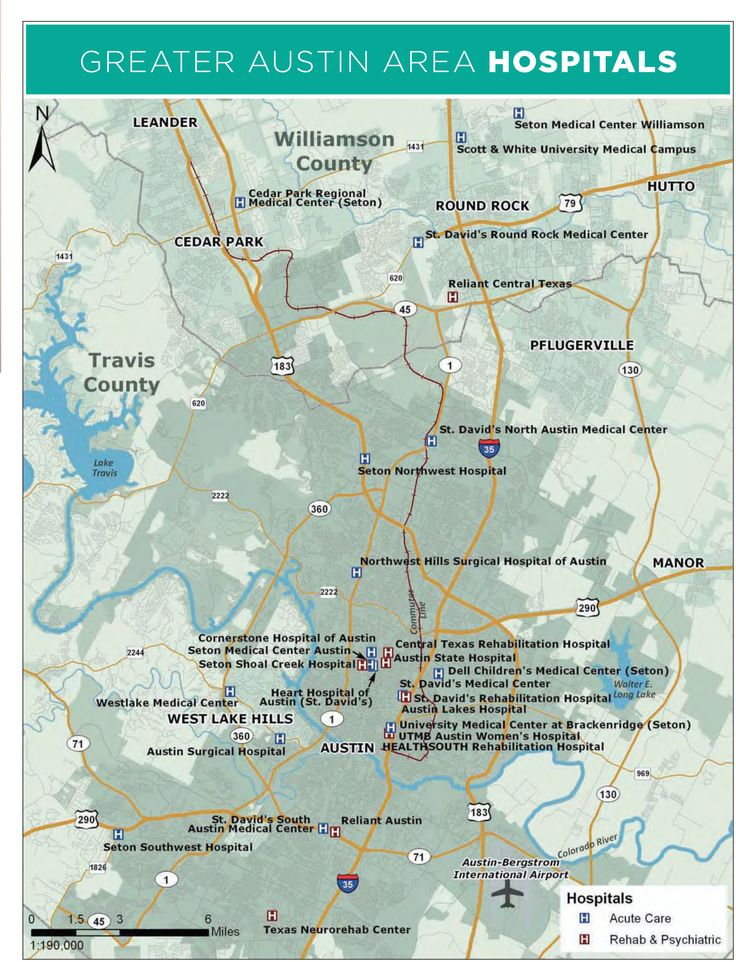 Great Austin area hospitals, map view more MAPS