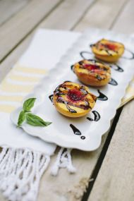 We love peaches in #Georgia!  Grilled Peaches with Balsamic Reduction (A Paleo, Whole30 & Vegan-Friendly Recipe) - Style Me Pretty Living