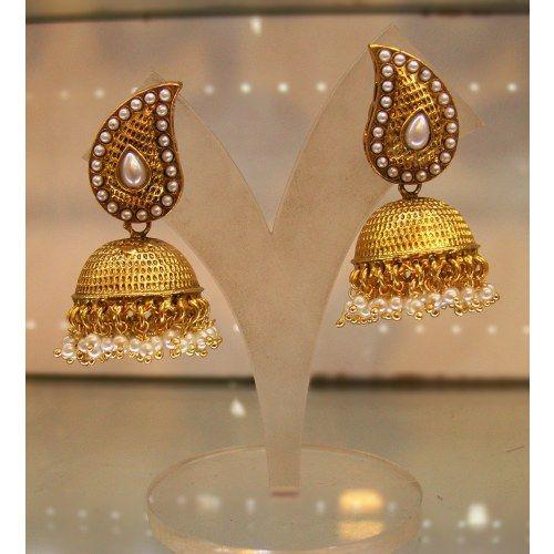Mango Shaped Jhumkas with Pearls