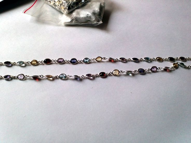 Sterling Silver Necklace studded with Amethyst , Garnet , Blue Topaz , Citrine & Iolite - 5 Stone Sterling Silver Necklace by TRUTHFINEJEWELLERS on Etsy