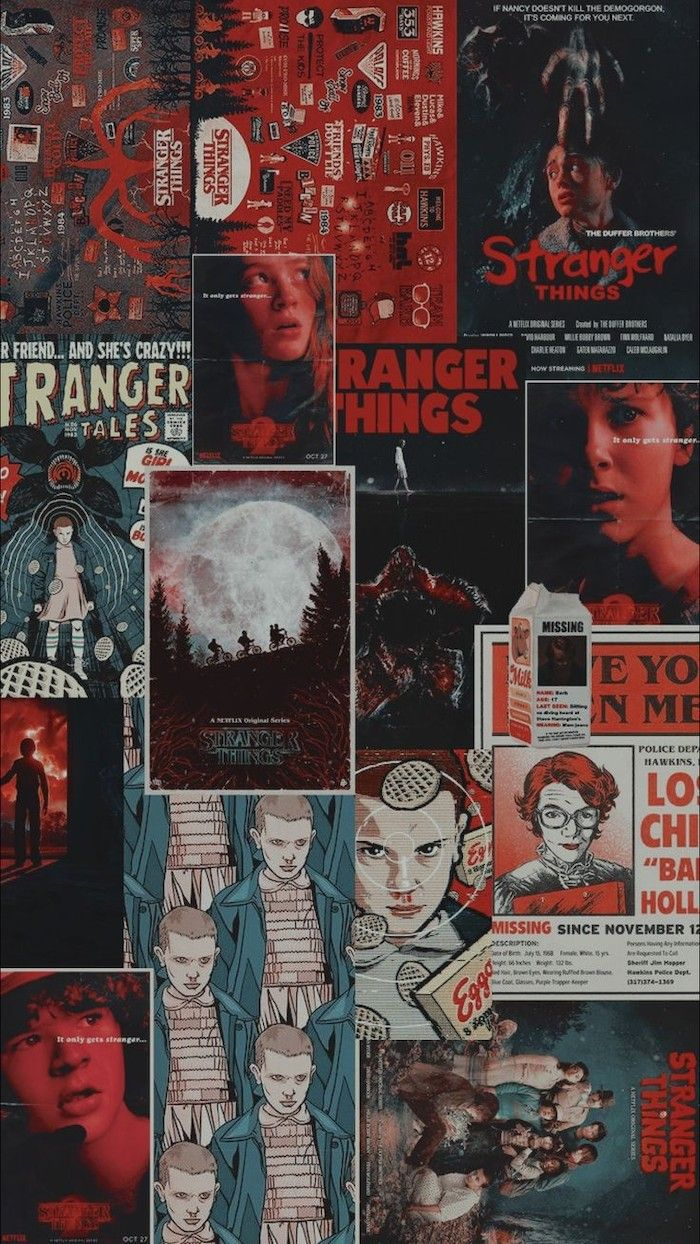 Photo Collage Of Poster Stranger Things Desktop Wallpaper Max Eleven Dustin Nancy Barb In 2020 Stranger Things Wallpaper Stranger Things Poster Stranger Things