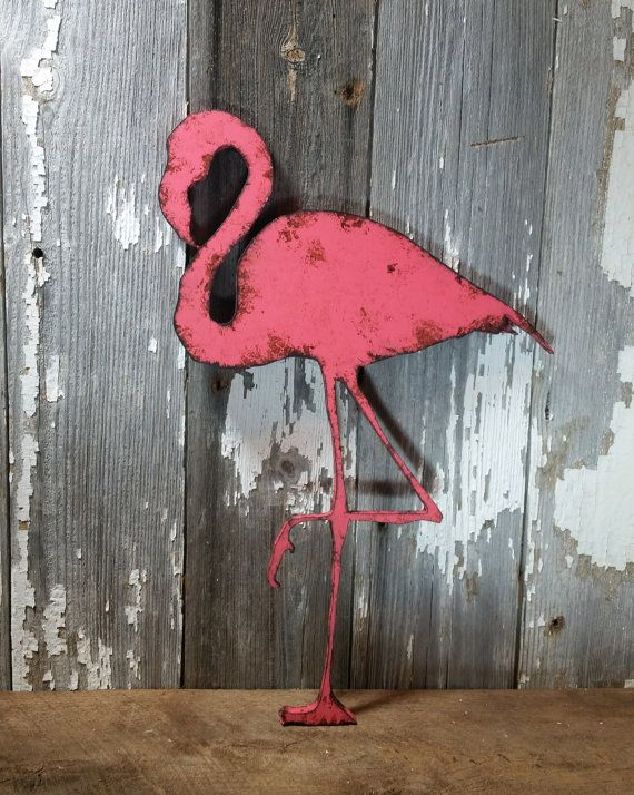 Flamingo Rustic Shabby Chic Wooden Wall Decor by ThePinkToolBox