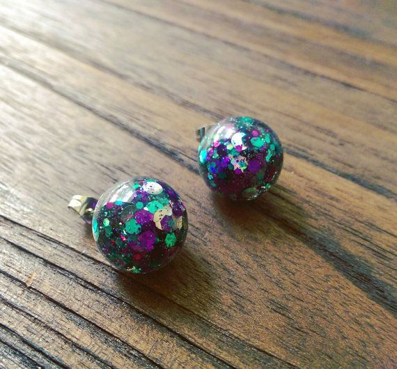 Check out this item in my Etsy shop https://www.etsy.com/au/listing/457119236/glamour-glitter-resin-ball-stud-earrings