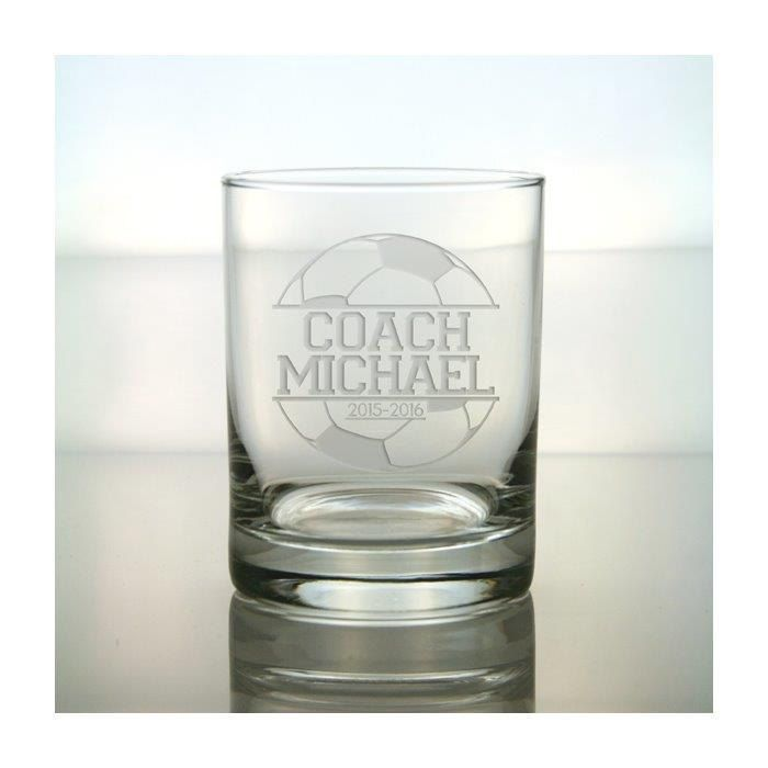 Soccer Coach Whisky Glass / 12.5 oz Personalized Glass / Engraved Whisky Glass / Soccer Personalized Glass / Personalized Coach Gift by GlassIslandDesigns on Etsy