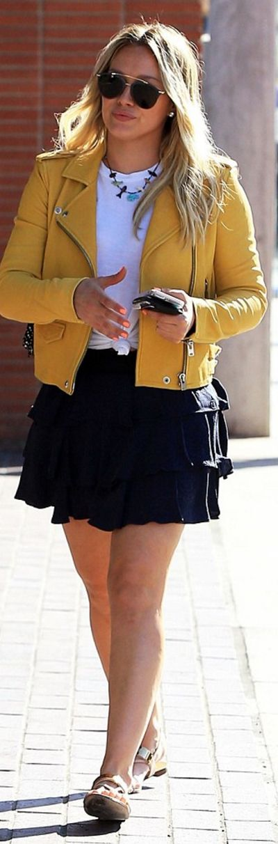 Who made Hillary Duff's yellow leather jacket?