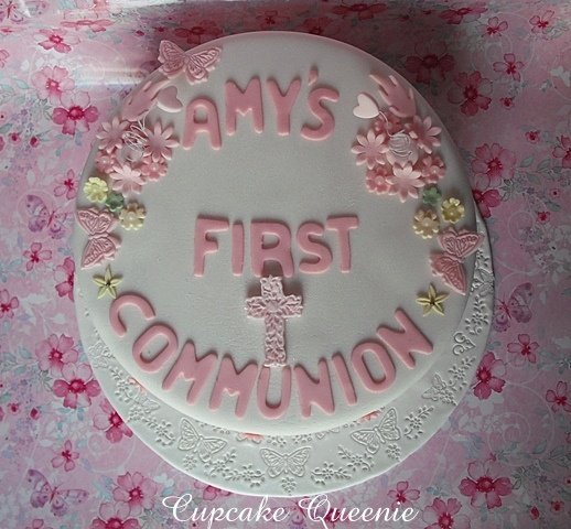 Communion  chocolate biscuit cake for a girly girl, top view by Cupcake Queenie, via Flickr