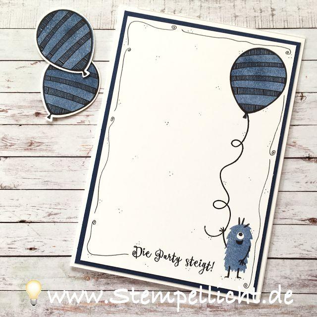 Geburtstagskarte mit Just Keep Swimming und Ballonparty von Stampin Up