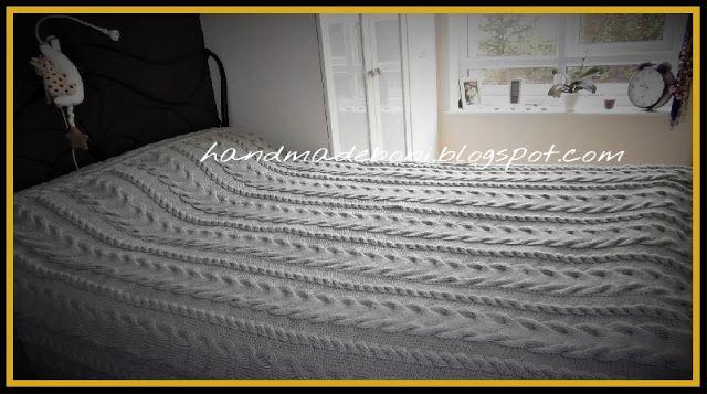 HandmadeBoni: Narzuta z warkoczami 220x250 cm.